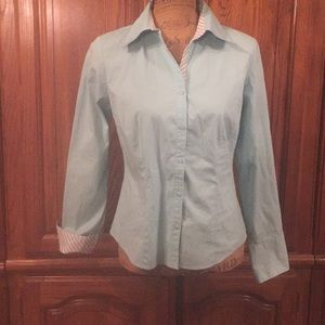 Loft Turquoise French Cuffed Shirt Size 6